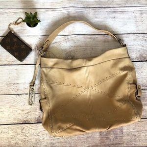 B. Makowsky Genuine Leather Tan Hobo Handbag